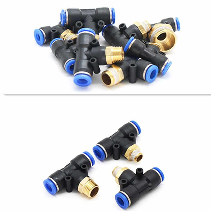 """Luft Anschluss Fitting T Form 6mm 8mm 10mm 12mm 4mm Schlauch Rohr zu 1/8 """"1/4"""" M5 3/8 """"1/2"""" BSPT Außengewinde Pneumatische Koppler GOLD"""