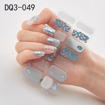 14pcs/sheet Glitter Gradient Color Nail Stickers Nail Wraps Full Cover Nail Polish Sticker DIY Self-Adhesive Nail Art Decoration 33
