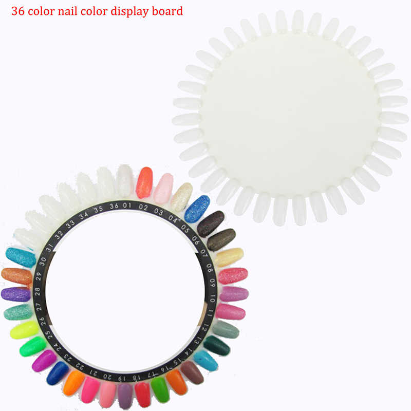 1 Pc Wit Acryl Nail Kleur Card Tool Praktijk Schilderen Nagellak Wheel Board Palet 36 Tips Valse Nail Art display