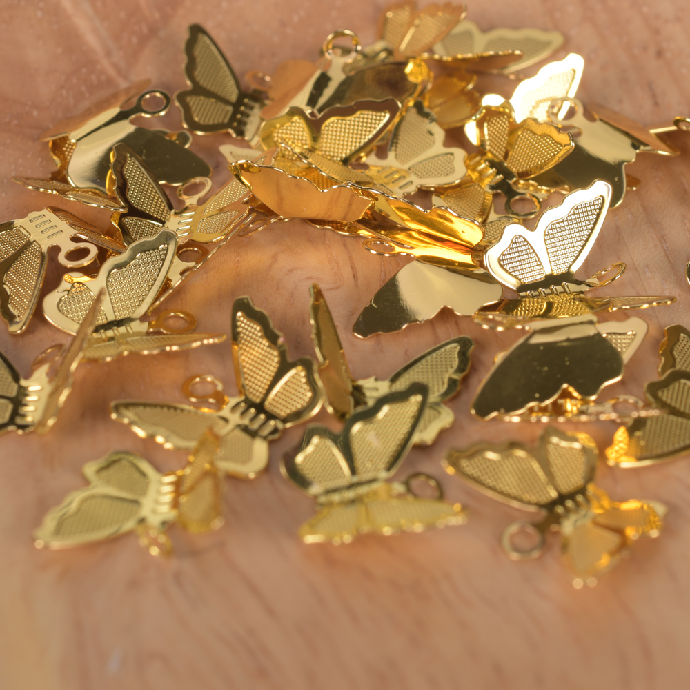 30Pcs/Lot Copper Brass Butterfly Pendant Charms For Necklace Bracelet Earrings Butterfly Jewelry Making Findings Accessories 6