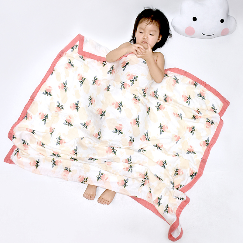 Four Layer Bamboo Cotton Baby Muslin Blanket Muslin Swaddle Baby Baby Summer Blanket Stroller Cover Bath Towel 120*120 CM
