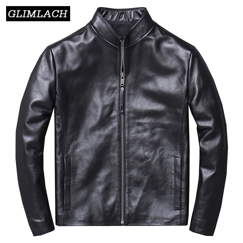 Men Business Casual Cowhide Jacket Real Cow Leather Jacket Men Genuine Leather Coat Black High Quality Slim Short Coat Male New