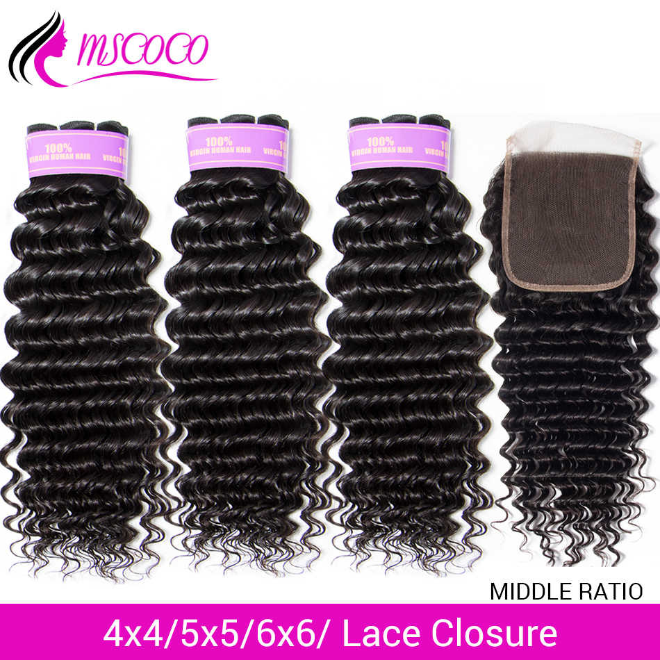 Mscoco Hair Deep Wave Bundles With Closure 5x5 6x6 Lace Closure Middle Ratio Remy Brazilian Human Hair 3 Bundles With Closure