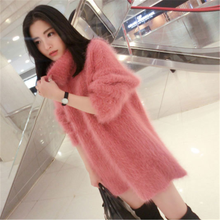 Wanita Sweater Musim Dingin 2019 Korea Rajutan Sweater Panjang Wol Tebal Seksi Merah Muda Sweater Leher Tinggi Plus Ukuran Panjang Sweater(China)