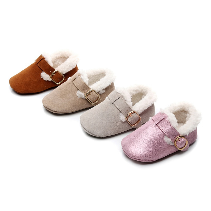 2019 Cotton Warm Newborn Baby Shoes PU Toddler Girl Snow Boots Shoes Autumn Winter Soft Sole Baby Girls Plush Prewalker