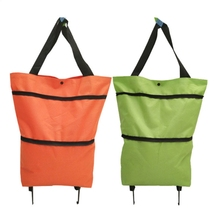 Portable Shopping Trolley Bag Oxford Foldable Tote Bag Shopping Cart Reusable Grocery Bags Wheels Rolling Shopping Organizer M