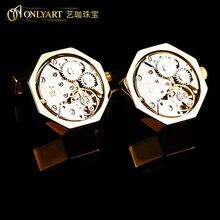 men real watch cufflink golden color button fashion accessories watch movement cufflinks for men OnlyArt Jewelry