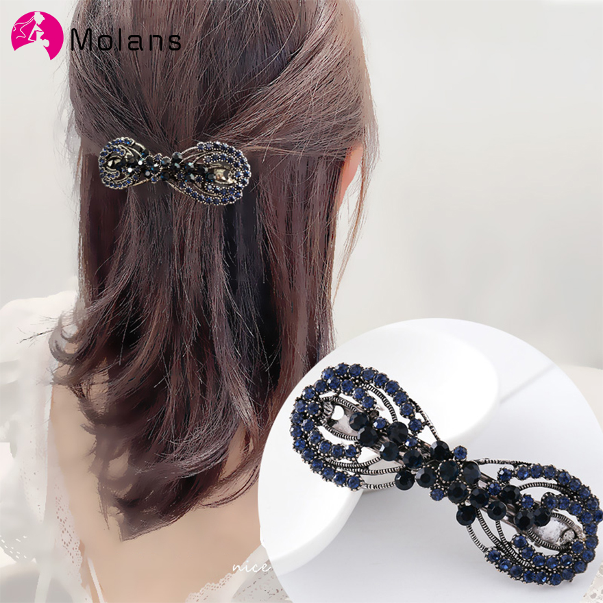 Molans 2020 Hollow Alloy Flower Hairpins Ink Blue Rhinestones Hairpin Floral Butterfly Diamond For Women Spring Hair Clips