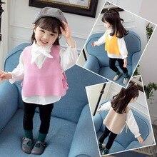 Осень-зима; модные милые свитера для девочек; корейский хлопковый свитер с длинными рукавами и бантом; одежда для маленьких девочек