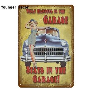 Ретро винтажный домашний декор с гаражной тематикой металлический знак Соблазнительная девушка плакат Автомобиль Мотоцикл самолет сексуальная леди стикер стены YI-050