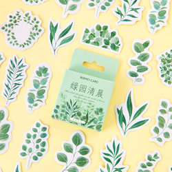 45pcs Natural Pick Stickers Set 44mm Mini Garden Green Leaf Plant Sticker Diary Album DIY Decoration Adhesive Gift Seal A6420