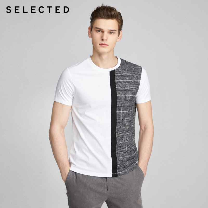 SELECTED Slightly Stretch Plaid Splice Short-sleeved Knit T-shirt S|420101515