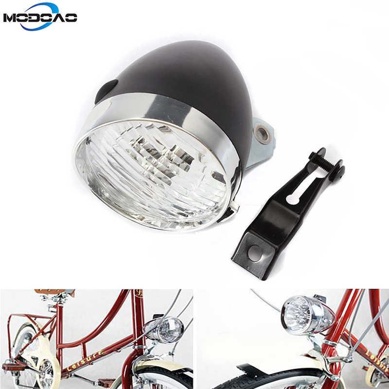 H1 Black 3 LED Bicycle Headlight Bike Front Light Vintage Flashlight Lamp
