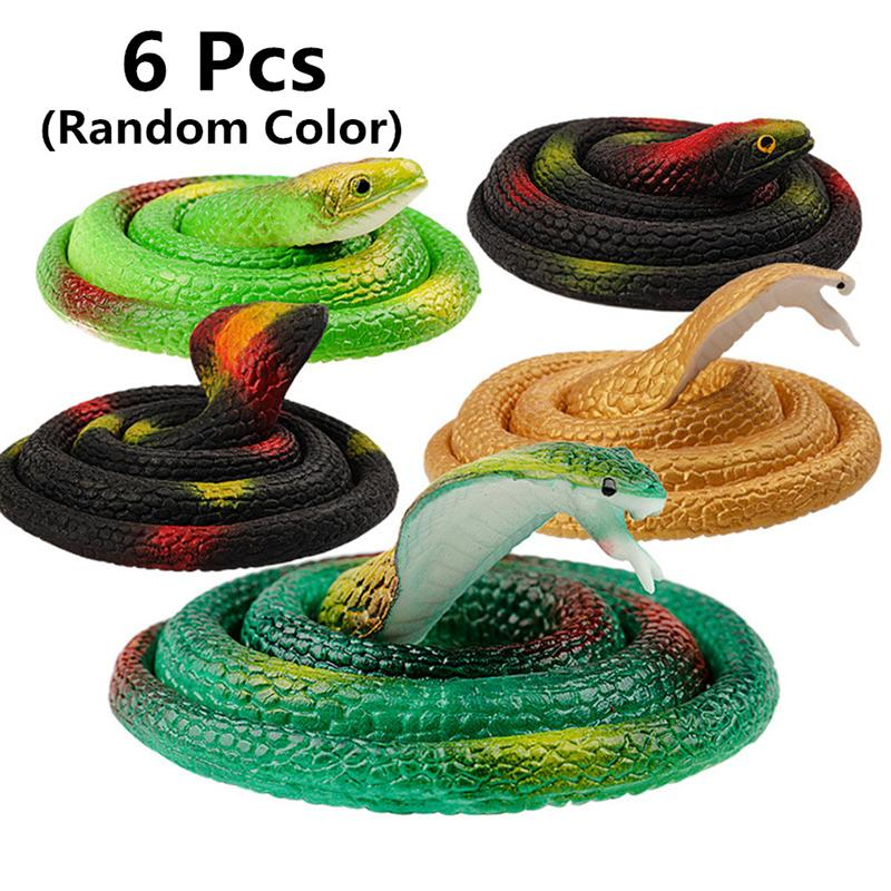 Snake-Toy Halloween Creative Favor for Carnivals Party 6pcs Soft-Rubber Bright-Color