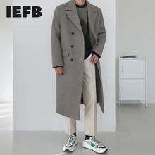 IEFB Woolen coat men's Korean fashion over the knee mid length winter thickening loose double breasted warm long coat new 9Y4486