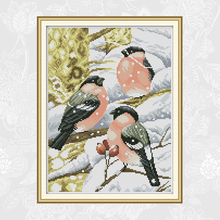 Red-bellied Bird in the Snow Counted Cross Stitch 11CT 14CT DIY Cross Stitch Kits Embroidery Thread Home Decor Needlework red rose on the table painting counted 11ct 14ct cross stitch wholesale diy cross stitch kit embroidery needlework home decor