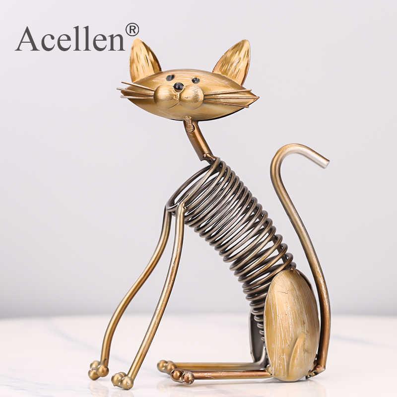 Üç kediler figürinler bir Set üç yavru kedi el yapımı Metal heykel koleksiyonu demir ev dekorasyon aksesuarları yaratıcı hediye