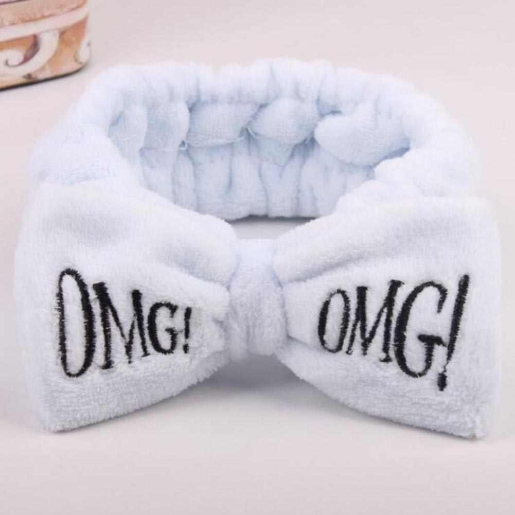 2019 חדש OMG מכתב פליז לשטוף פנים Hairbands לנשים חמוד רך קשת בנות סרטי ראש שיער להקות טורבן שיער אבזרים