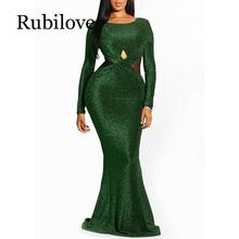 Rubilove Elegant Sequin Green Backless Ladies Sheer Evening Fashion Women Mermaid Tight Party Club Long Sexy Dress Bodycon