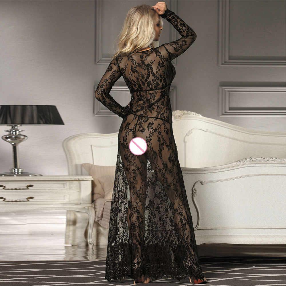 Gratis Struisvogel Vrouwen Sexy jurk Negligee Nightie Kant Mooie Zwarte Lange Rok jurken voor vrouwen 908