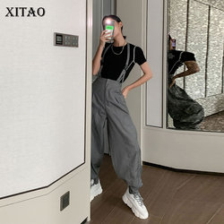 XITAO Delle Donne In Europa A Vita Alta Dei Pantaloni di Sport Allentati Casual Solido Per Le Strade di Disegno 2020 della Molla di Modo di Estate Nuovi Pantaloni DMY4902