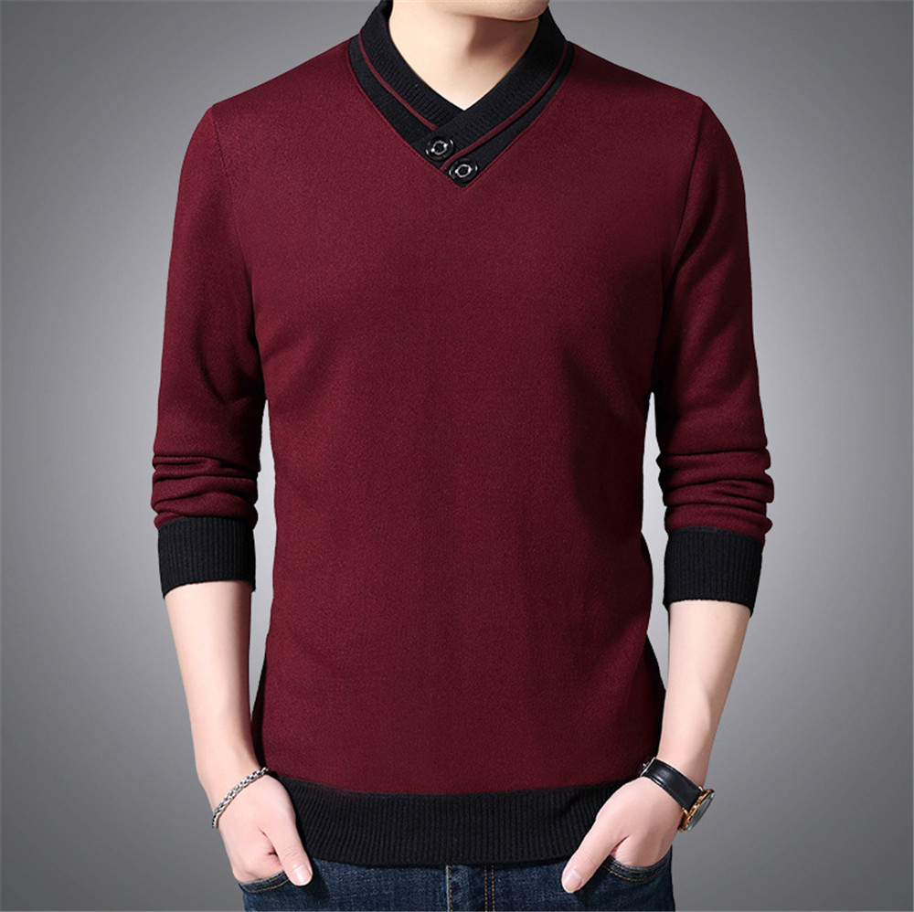 Men Autumn Sweater Winter Long Sleeve Thin Knitted Base Shirt For Young Men And Women V-neck Sweater