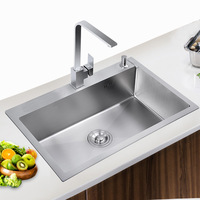 304 stainless steel manual sink single slot Kitchen sink washing basin thickened sink single basin kitchen appliances