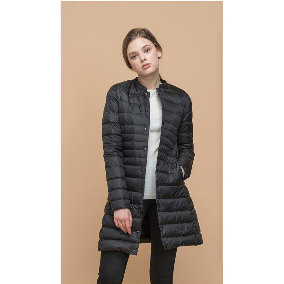 ZOGAA Women   Parkas   Winter Warm Thick Padded Cotton and Ultra Light Duck Down Long Jacket Overcoat Slim Solid Lightweight Coats