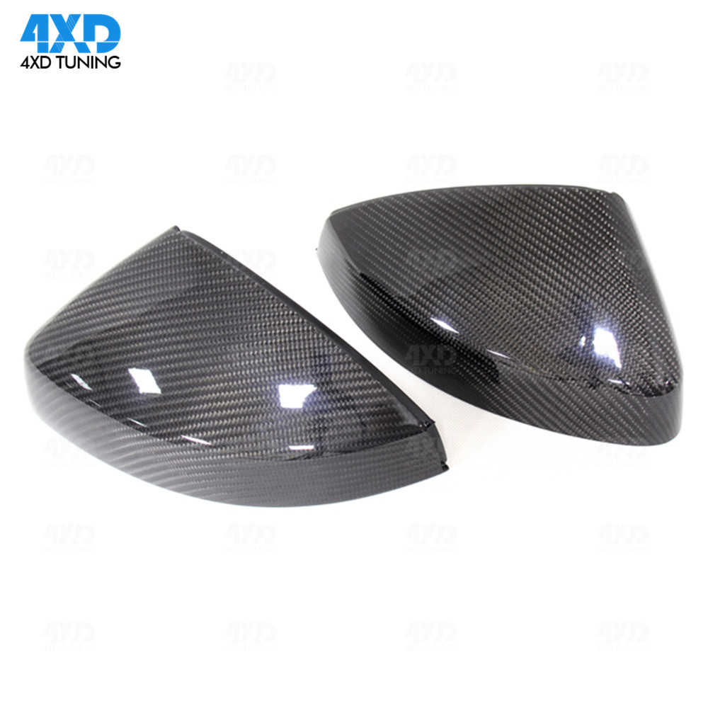 For Audi RS5 2018 Up Auto Mirror Cover Cap ABS+Carbon Fiber With Side Assist