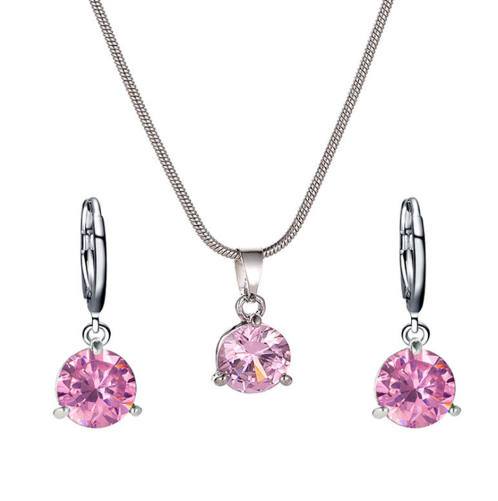 LVV   Red Crystal Honey Pink Stones Blue Necklace Pendant Earrings Jewlery Sets for Women Gift Fahion