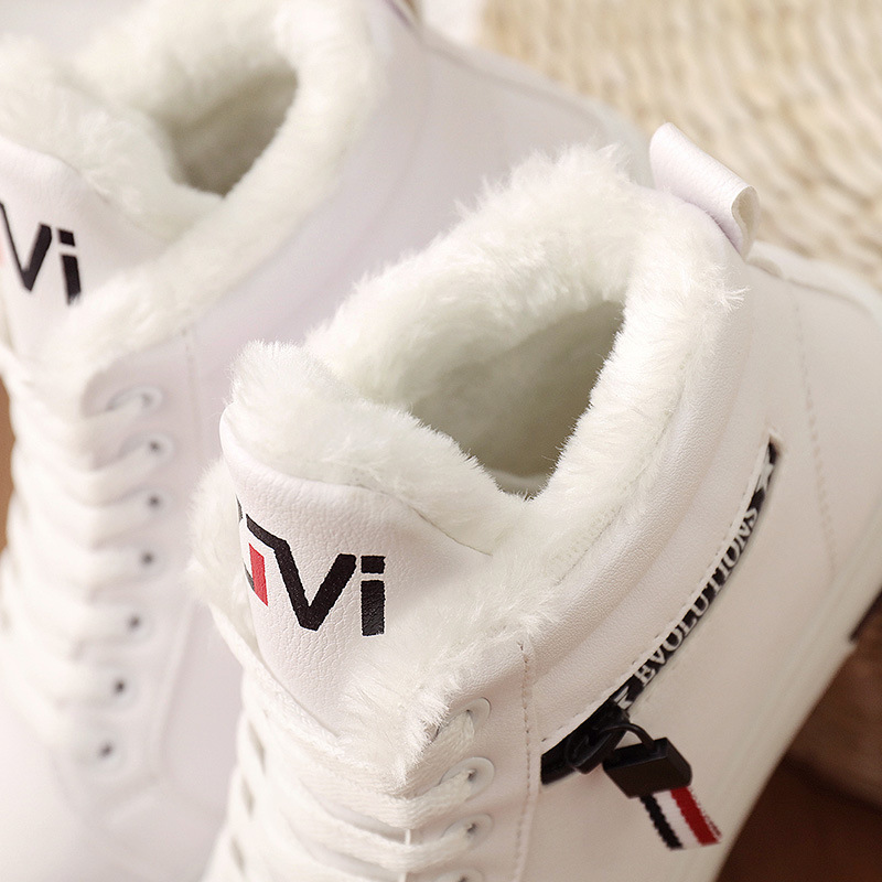 2019 Winter Boots Women Ankle Boots Warm PU Plush Winter Woman Shoes Sneakers Flats Lace Up Ladies Shoes Women Short Snow Boots 31