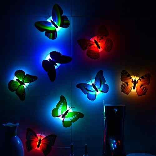 สีเปลี่ยนผีเสื้อน่ารัก LED Night Light หน้าแรกห้องพัก Wall Decor น่ารัก Room Decor สติ๊กเกอร์ติดผนัง обои