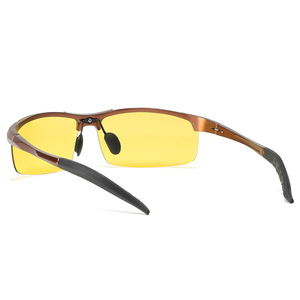 Image 3 - אלומיניום ראיית לילה משקפיים כדי להפחית בוהק עם צהוב מקוטב עדשות לילה משקפיים נהיגה בלילה דיג 5933