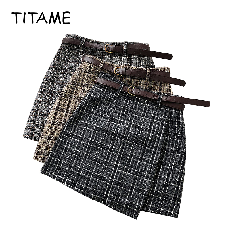 TITAME Women Irregular Skirt Female 2020 Sweet High Waist A-line Mini Skirt Vintage Casual Women Plaid Skirt Chic Sashes