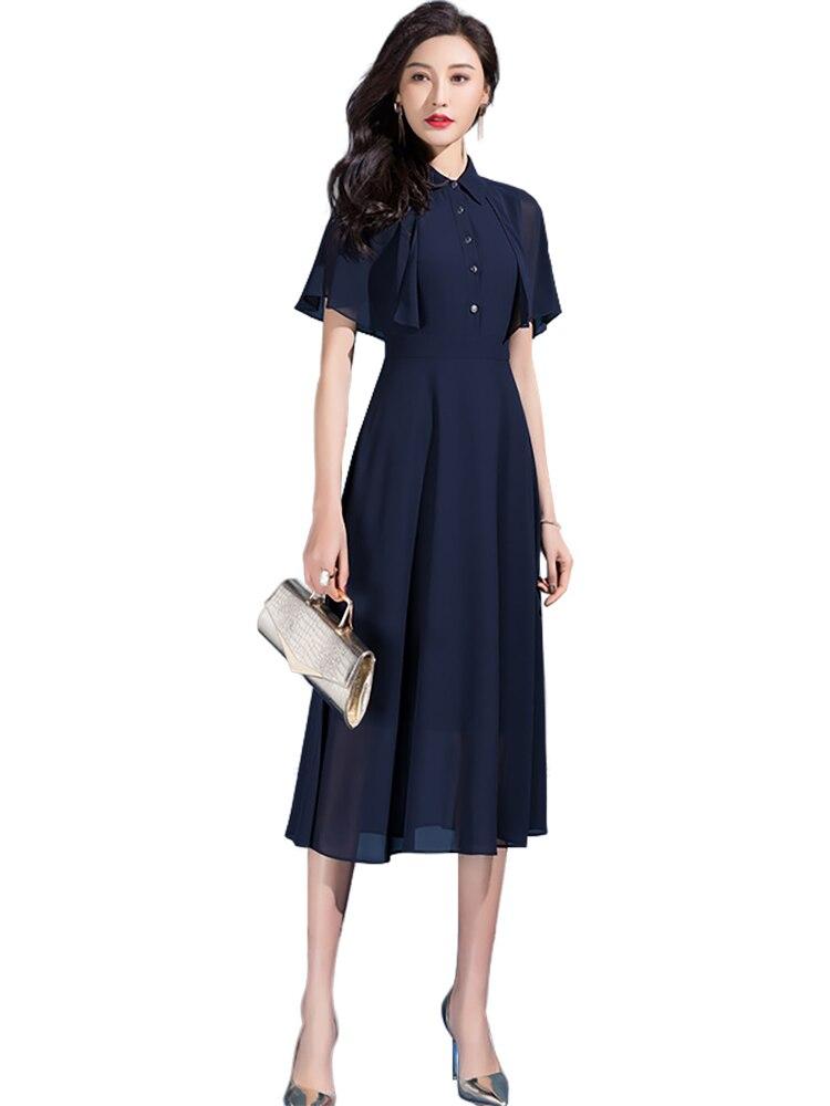 2021 verão feminino elegante chiffon vestido chique design camisa gola senhoras casual wear