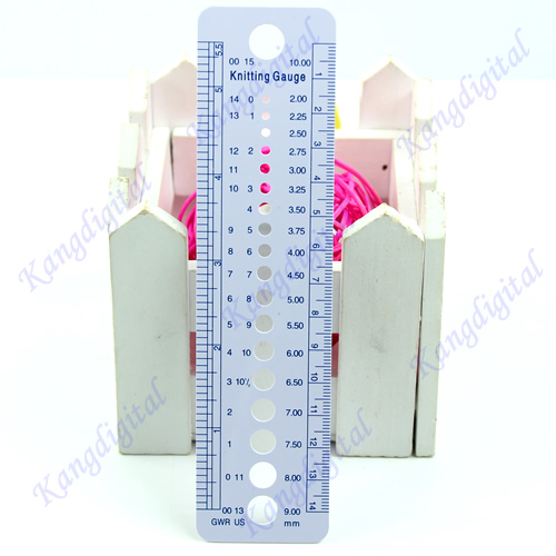 UK US Canada Gauge Inch Cm Ruler Tool All In One Knitting Needle Sizes Stationery