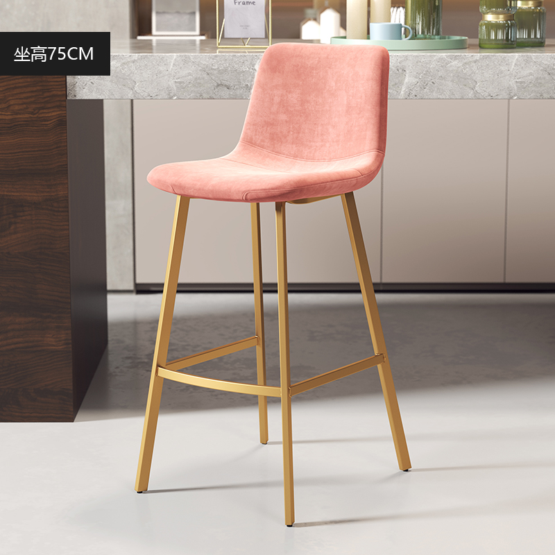 Simple And Stylish Bar Chair Nordic Light Luxury Ins Bar Chair Backrest High Stool Golden Net Red Bar Stool