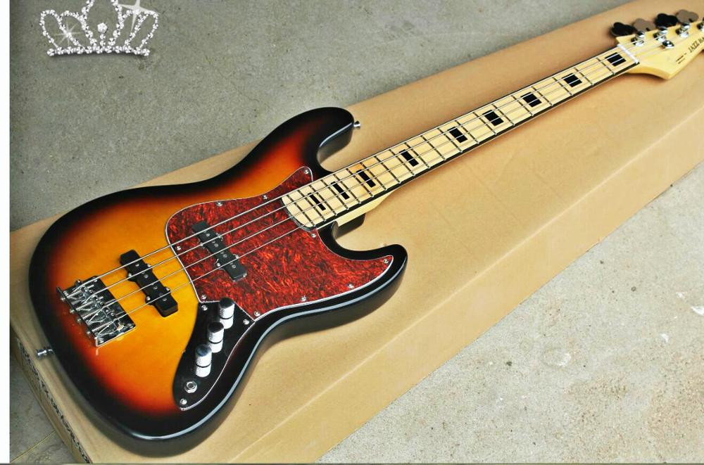 Top Quality FPJB-5001 3TS Color Solid Body Red Turtle Pickguard Maple  Fretboard 4 Strings Jazz Bass, Free Shipping