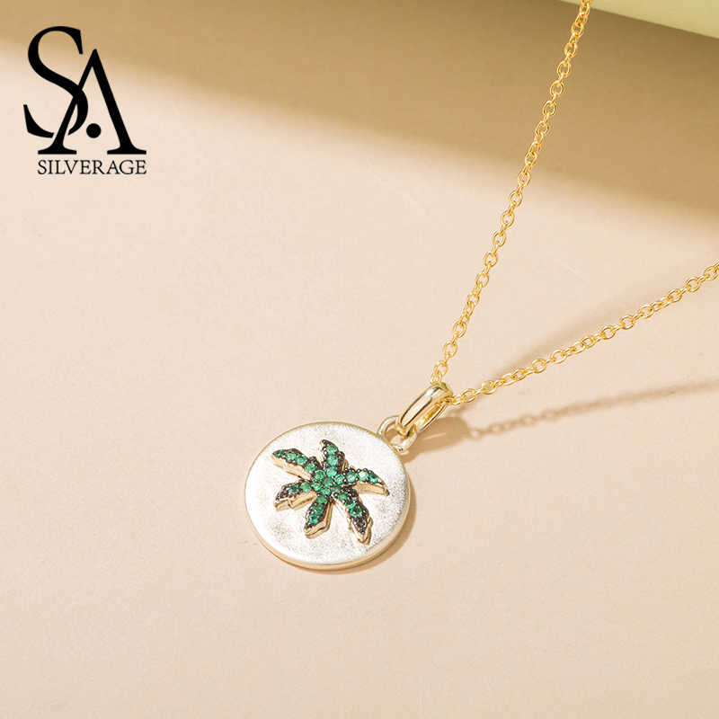 SA SILVERAGE Female Jewelry S925 Silver Pendant Oasis Coconut S925 Sterling Silver Necklace Women Simple Tide Chain Necklace