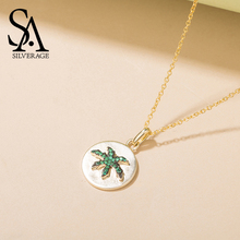 SA SILVERAGE Female Jewelry S925 Silver Pendant Oasis Coconut Sterling Necklace Women Simple Tide Chain