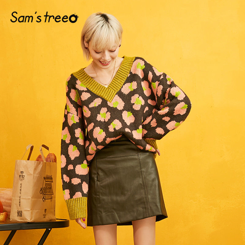 Samstree Floral Printed Pullover Women Sweaters 2019 Autumn Winter Mohair Colorblock Bishop Sleeve Casual Office Ladies Tops