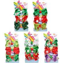 3 '' 3Pcs/Set Mini Christmas Hair Bows Santa Claus Print Girls Hair Clips Ribbon Jojo Siwa JOJO Bows Boutique Hair Accessories цена