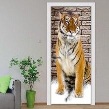 DIY ремонт Фреска водонепроницаемый самоклеющийся тигр животное дверь спальни наклейки печать картина домашний Декор постер настенный
