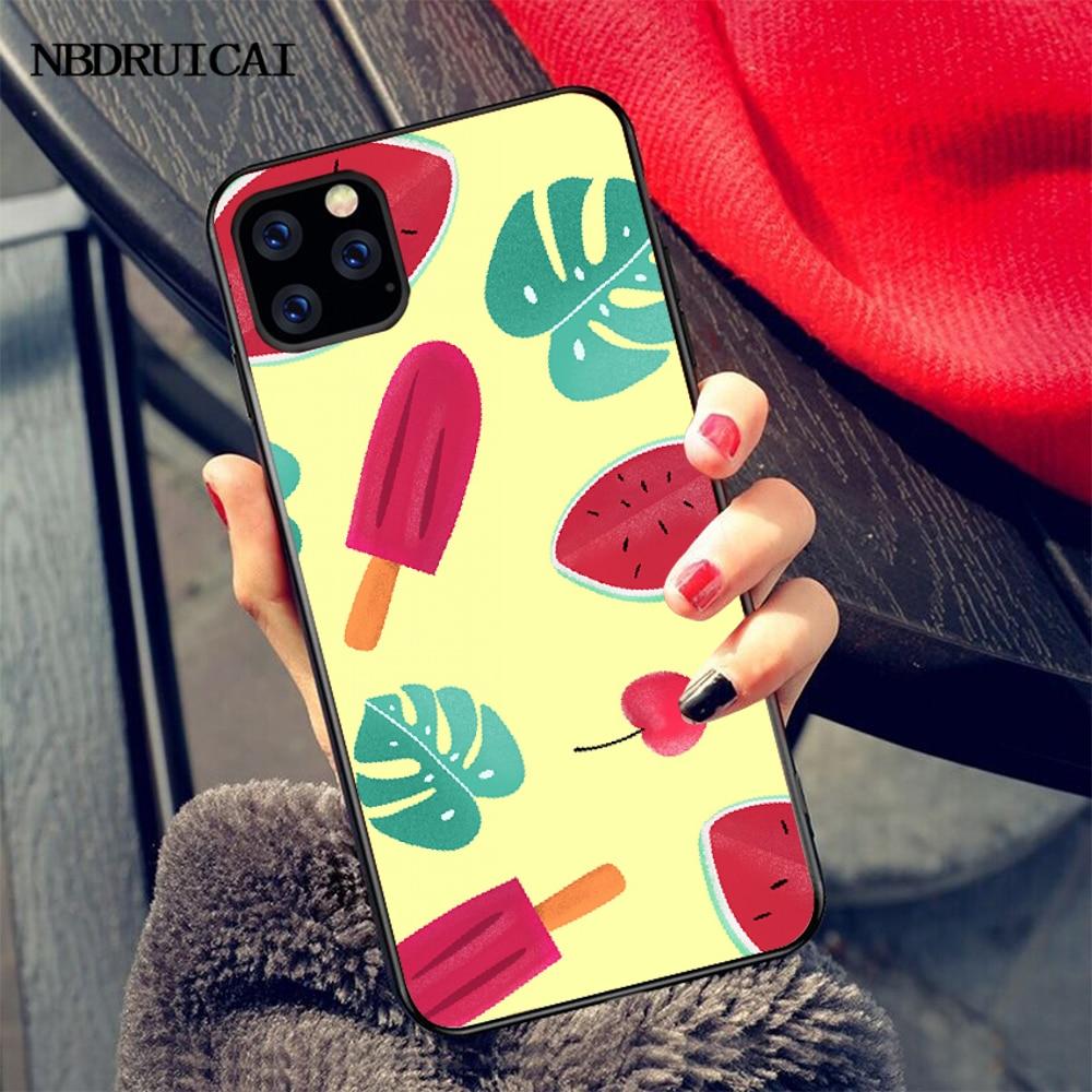 NBDRUICAI, funda negra suave de verano con dibujo de sandía para iPhone 11 pro XS MAX 8 7 6 6S Plus X 5S SE XR