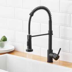 Grifo negro de cocina, grifo extraíble de resorte para cocina, mezclador de agua caliente para cocina, grifo para fregadero de latón Torneira