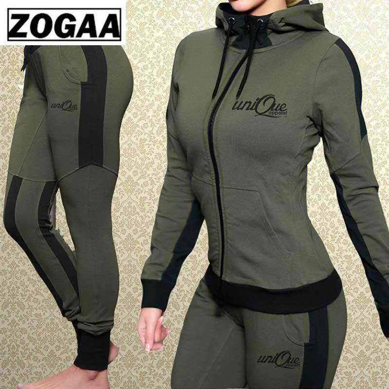 ZOGAA Women Outfits 2 Piece Set Hooded Sweatshirts With Pants Solid Slim Casual Sweat Suit Matching Sets for Women Tracksuit
