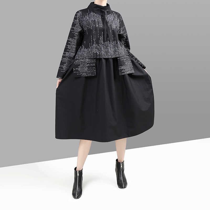 Nieuwe Koreaanse Stijl 2019 Vrouwen Winter Zwarte Jurk Lange Mouwen Opstaande Kraag Gestreepte Patchwork Lady Midi Retro Jurk vestido 5667
