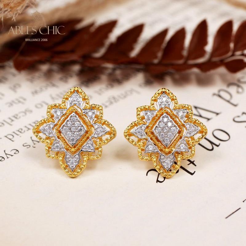 Rhombus Flower Earrings 925 Silver Paved White Diamond CZ Geometric Earring 18K Gold Tone Renaissance Filigree Studs C11E4S25492