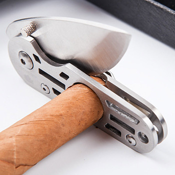 Newest 2 in 1 stainless steel Cigar cutter knife Pocket Travel multifunctional Accessories With Punch And Gift Box