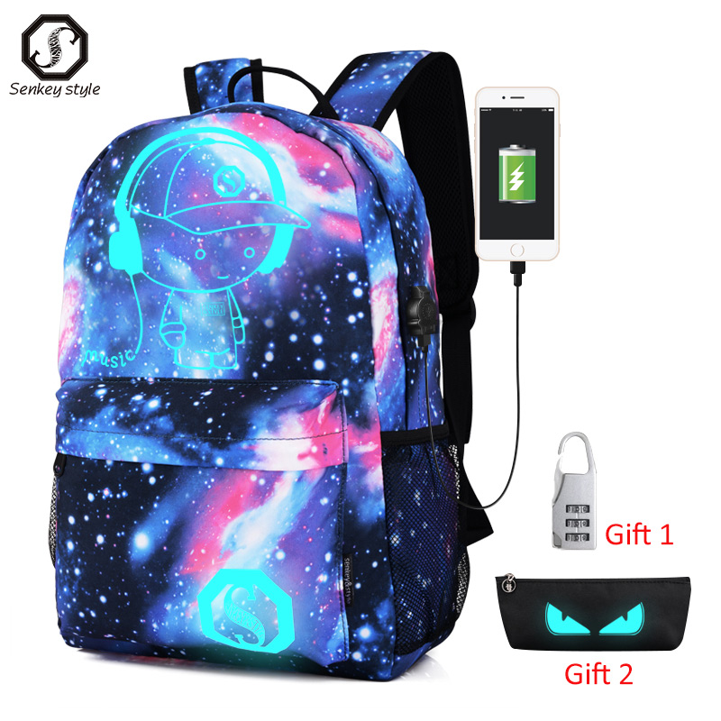 Luminous Student School Bag Anime Laptop Backpack for Boy Girl Daypack with USB Charging Port Anti-theft Lock Camping Travel bag 1